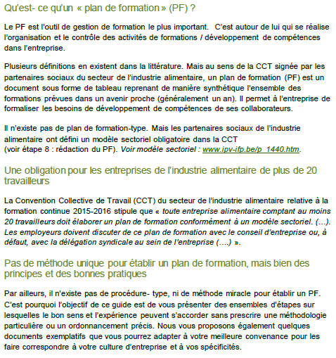 Guide A L Etablissement D Un Plan De Formation Alimento